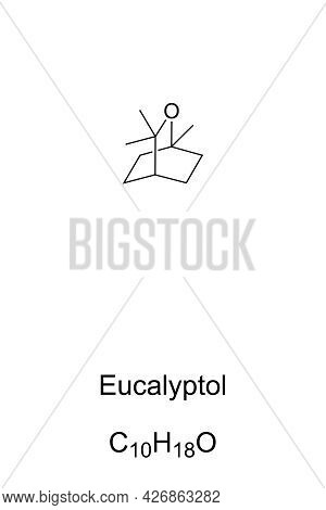 Eucalyptol Chemical Formula And Structure. 1,8-cineole, Organic Compound, With Mint-like Smell And C