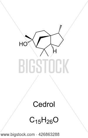 Cedrol, Chemical Formula And Skeletal Structure. Organic Compound, Found In The Essential Oil Of Con