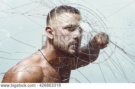 Fist Fight. Mixed Martial Arts. Brutal Handsome Man With Tattooed Body. Confident And Handsome Bruta