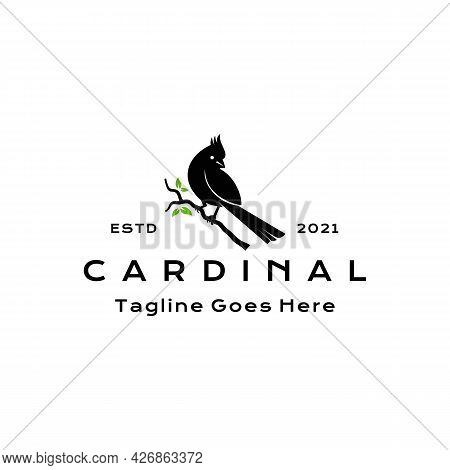 Cardinal Bird Silhouette Logo Design Vector Illustration