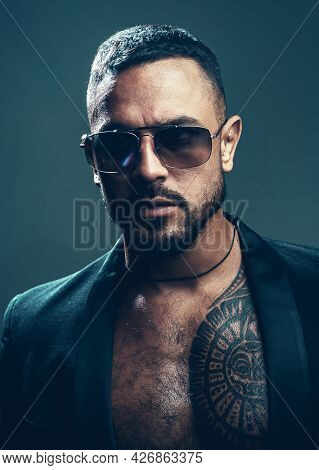American Man. Sexy Brutal Man In Glasses. Stylish Man - Casual Clothing And Eyeglasses. Glasses For