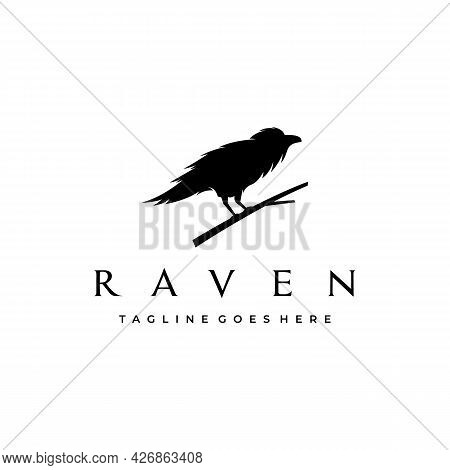 Crow Raven Silhouette Sitting On A Branch Logo Design Vector Illustration