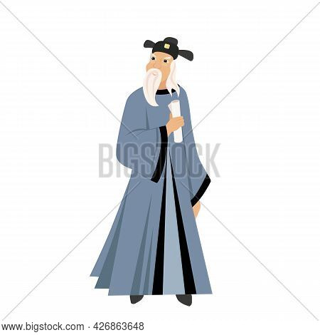 Vector Illustration Of A Chinese Sage, A Healer With An Ancient Scroll In His Hand