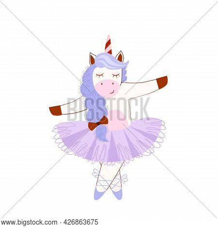 Vector Stock Illustration Of Unicorn Ballerina For Baby Products Design