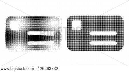 Dot Halftone Banking Card Icon. Vector Halftone Pattern Of Banking Card Icon Constructed From Spheri