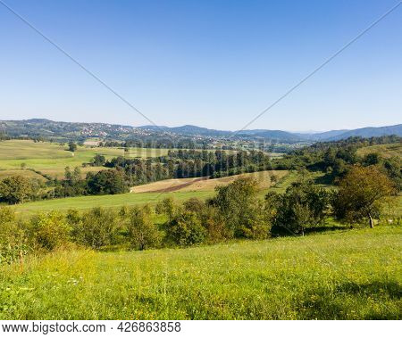 Scenic View Of Hilly Countryside In Village Of Gornji Osječani Near Doboj During Clear Sunny Summer