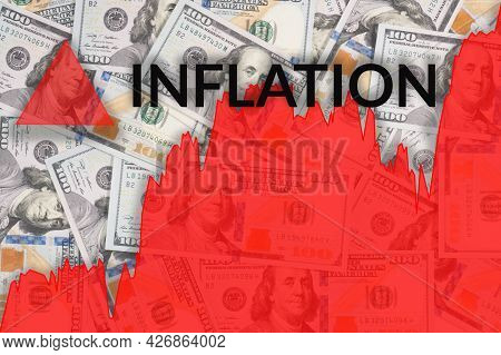 Red Growth Line Chart Of Inflation Process On Dollar Banknote Backgroud. World Crisis Concepts