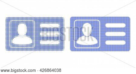 Dotted Halftone User Account Card Icon. Vector Halftone Mosaic Of User Account Card Icon Made From S