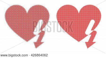 Dot Halftone Love Heart Strike Icon. Vector Halftone Mosaic Of Love Heart Strike Icon Composed Of Ci