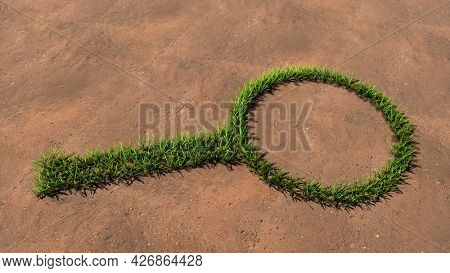 Concept or conceptual green summer lawn grass symbol shape on brown soil or earth background, sign of magnifying glass. A 3d illustration metaphor for science, research, fun, games and  exploration