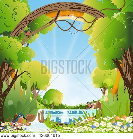 Vector Paper Cut Landscape In Spring Season With Waterfall, Kingfisher Bird Standing Looking For Fis