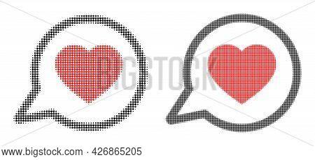 Pixelated Halftone Favorite Message Icon. Vector Halftone Collage Of Favorite Message Icon Organized