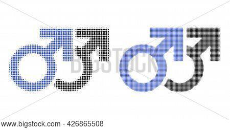 Dot Halftone Gay Couple Symbol Icon. Vector Halftone Concept Of Gay Couple Symbol Icon Constructed O