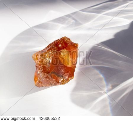 Agate Minerals From Novy Urengoy, Russia. A Backlight Photo Of Stone On White Background. Geology Mi