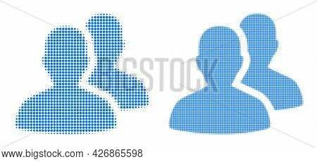 Dot Halftone Users Icon. Vector Halftone Pattern Of Users Icon Done Of Spheric Elements.