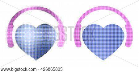 Pixel Halftone Favourite Headphones Icon. Vector Halftone Collage Of Favourite Headphones Icon Organ