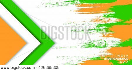 Orange White And Green Background With Grunge And Geometric Design For India Independence Day. Good