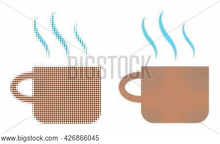Dotted Halftone Hot Tea Cup Icon. Vector Halftone Pattern Of Hot Tea Cup Icon Designed Of Spheric Pi