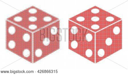 Dot Halftone Dice Cube Icon. Vector Halftone Mosaic Of Dice Cube Icon Combined Of Round Items.