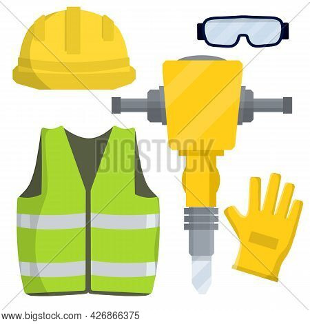 Clothing And Tools Worker And The Builder. Type Of Profession. Cartoon Flat Illustration. Kit Items