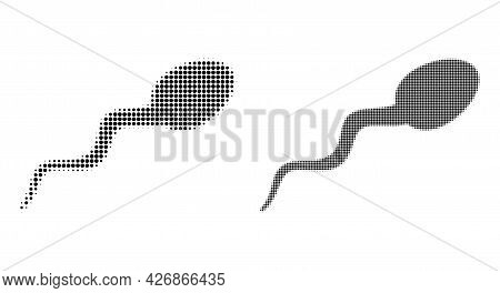 Pixelated Halftone Sperm Icon. Vector Halftone Concept Of Sperm Icon Done Of Spheric Items.