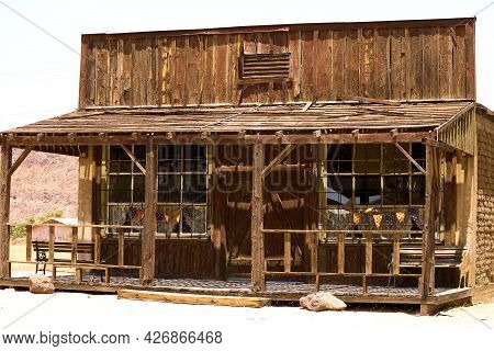 Vintage Derelict Wooden Mercantile Building With A Front Porch Taken At An Abandoned Store In The Ru