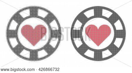 Dotted Halftone Hearts Casino Chip Icon. Vector Halftone Pattern Of Hearts Casino Chip Icon Combined