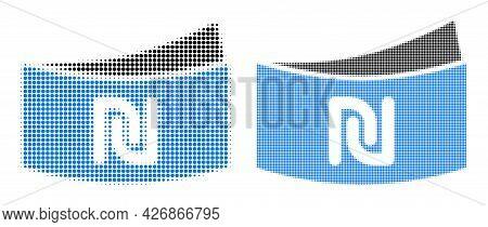 Pixel Halftone Shekel Banknote Icon. Vector Halftone Composition Of Shekel Banknote Icon Organized O