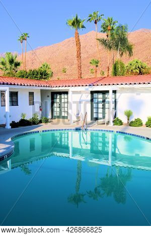 July 14, 2021 In Palm Springs, Ca:  Historic Spanish Colonial Style Building Surrounding A Pool At A