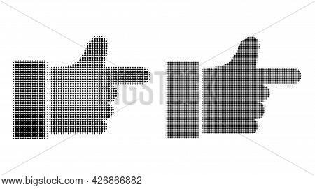 Pixel Halftone Index Finger Icon. Vector Halftone Concept Of Index Finger Icon Formed Of Circle Pixe