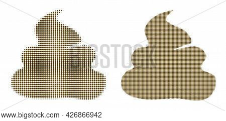 Dotted Halftone Shit Icon. Vector Halftone Mosaic Of Shit Icon Formed Of Circle Dots.