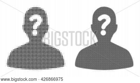 Dot Halftone Unknown Body Icon. Vector Halftone Pattern Of Unknown Body Icon Combined Of Round Point