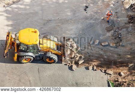 Wheel Loader Excavator Building Site Construction Road