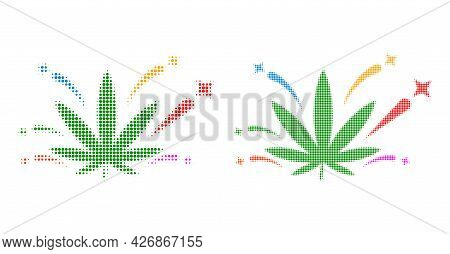 Pixelated Halftone Cannabis Euphoria Icon. Vector Halftone Collage Of Cannabis Euphoria Icon Constru