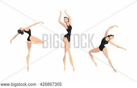 Beautiful Girl Dancing Set, Young Woman Ballet Dancer Or Gymnast Character Performing In Black Leota