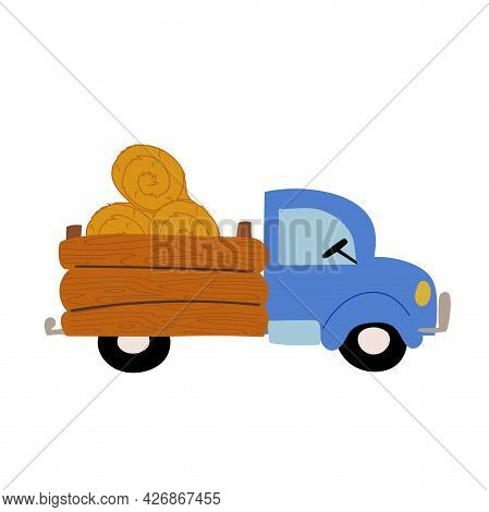 Blue Farm Pick Up Truck Carries Bales Of Hay