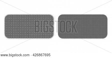 Dotted Halftone Rounded Rectangle Icon. Vector Halftone Collage Of Rounded Rectangle Icon Combined O