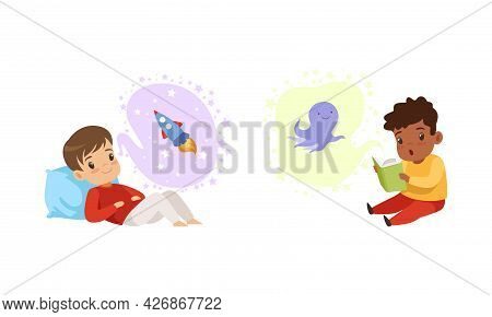 Kids Imagination Concept, Cute Boy Dreaming Of Being Astronaut And Reading Book Cartoon Style Vector