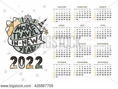 2022 Yearly Calendar Template. 12 Months Yearly Calendar Set In 2022. Week Starts On Sunday. Globe W