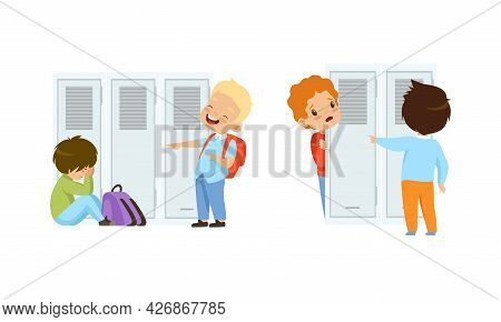 Bullying At School Concept, Boys And Girls Mocking Classmates Cartoon Vector Illustration