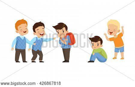Bullying At School Concept, Boys Mocking Classmate Cartoon Vector Illustration