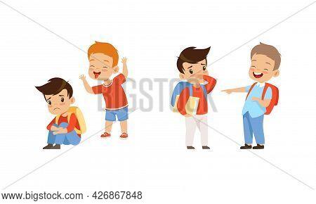 Bullying At School Concept, Aggressive Boys Mocking And Pointing At Classmates Cartoon Vector Illust