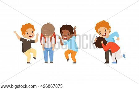 Aggressive Kids Mocking At Classmates, Mockery And Bullying At School Cartoon Vector Illustration