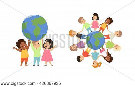 Friendship, Unity, Earth Planet Protection, Kids Holding Hands Standing The World Cartoon Vector Ill