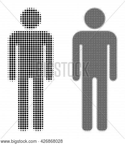 Pixel Halftone Man Figure Icon. Vector Halftone Pattern Of Man Figure Icon Constructed Of Round Pixe