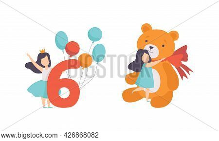 Cute Girl Celebrating Her Sixth Birthday, Kid Hugging Her Huge Teddy Bear Toy Cartoon Vector Illustr