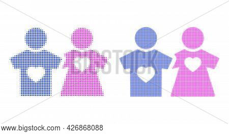 Pixelated Halftone Lovers Persons Icon. Vector Halftone Collage Of Lovers Persons Icon Organized Of