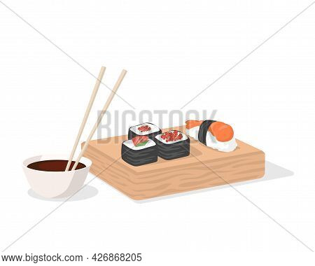 Sushi And Soy Sauce With Chopsticks On Wooden Plate Vector Flat Illustration Isolated On White. Trad