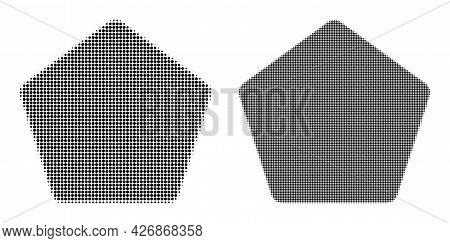 Pixelated Halftone Rounded Pentagon Icon. Vector Halftone Composition Of Rounded Pentagon Icon Creat