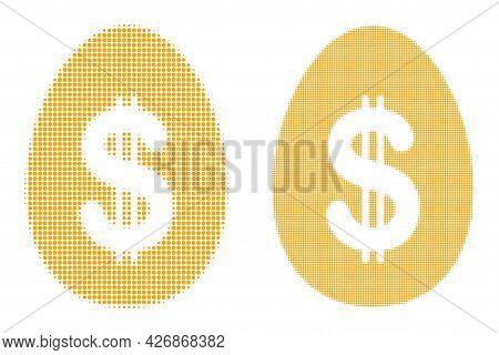 Dot Halftone Dollar Deposit Egg Icon. Vector Halftone Collage Of Dollar Deposit Egg Icon Formed Of S